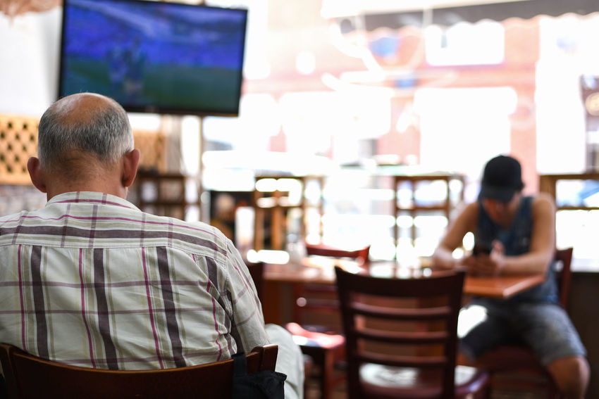 Local Summertime Documentary Photography Documentary Nikon Nikonphotography Football World Cup 2018 Rear View Relaxation Business Finance And Industry Coffee Shop Cafe Culture Cafe Customer Focused