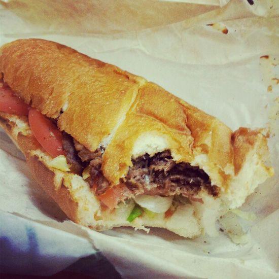 At Subway , eating fresh...lol Sandwich Food Steakandcheese foodporn