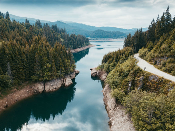 Aerial Shot People Watching Road Beauty In Nature Cloud - Sky Day Drone Photography Drone Pilot Dronephotography Idyllic Lake Landscape Mountain Nature No People Outdoors People Plant Reflection Scenics - Nature Sky Tranquil Scene Tranquility Tree Water The Great Outdoors - 2018 EyeEm Awards