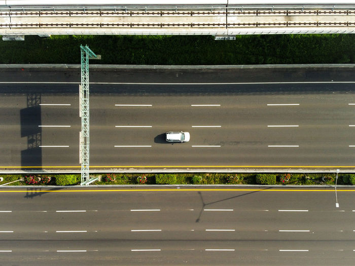 High angle view of empty road