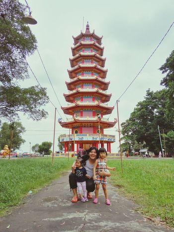 Pulau Kemaro, Palembang, Indonesia Two People Togetherness Child Sky Outdoors Pagoda Building