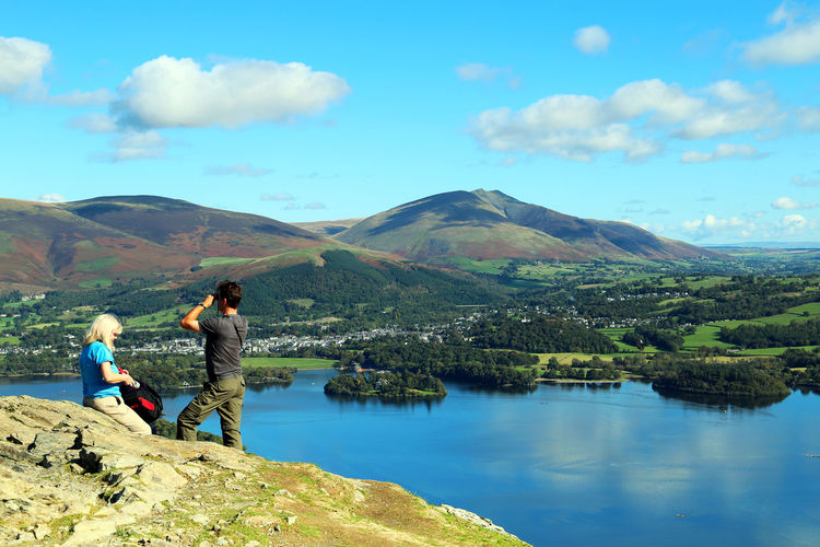 Lake District The Lake District  Mountain Mountains Scenery Nature Lake View Tree Walking Climbing Sky Sky And Clouds Star Wars Film Location People The Lakes Cumbria Blue Sky Walkers Cat Bells