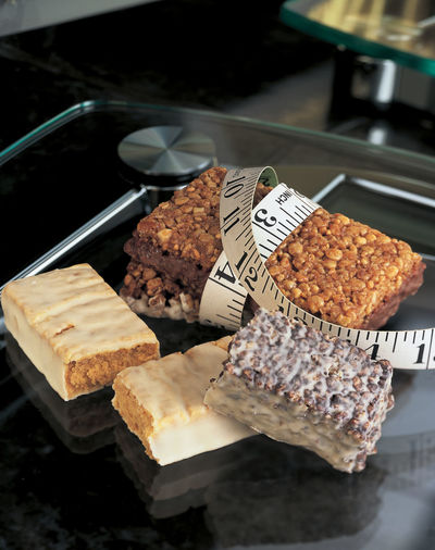 High angle view of cake on tray
