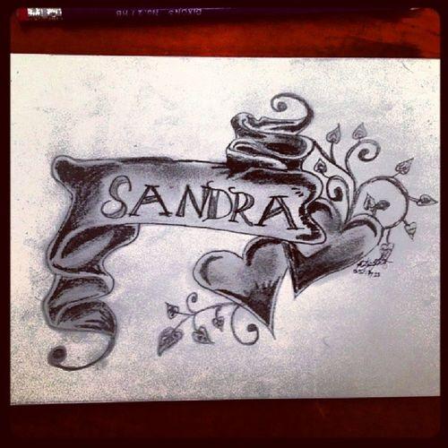 Sandra Birthday Birthdaycard Script scroll heart hearts vines life heartwithscroll scrollart heartart namescrolls tattoo tattooideas tattoostencils