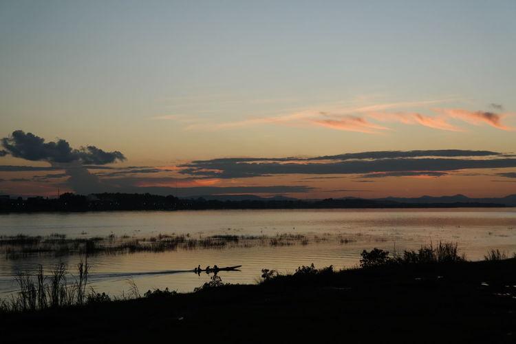 Sunset In Laos kgong river landscape Landscape_photography Boat