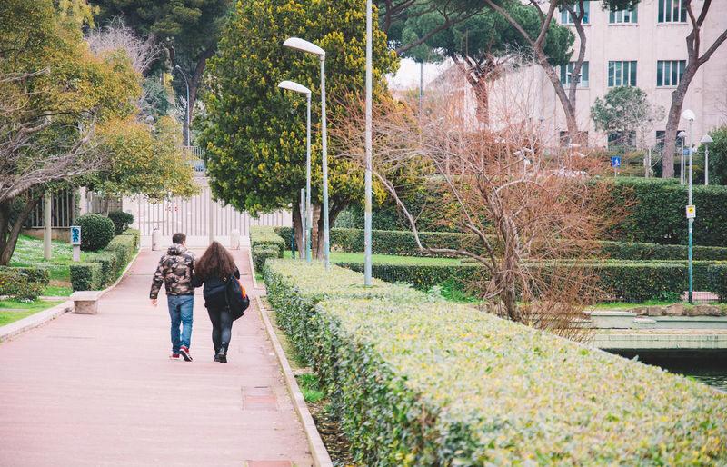 Couple Walking On Pathway Along Trees