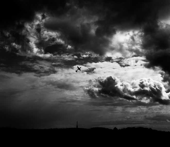 Analogue Photography Blackandwhite Clouds Clouds And Sky Contrast Forst Mediumformat Outdoors Plane Sky