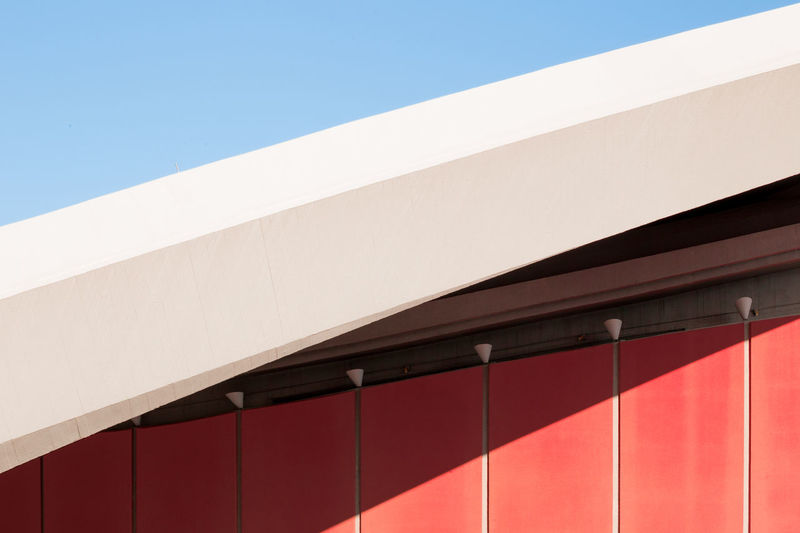 Archidaily Architectural Detail Architecture Architectureporn Asymmetry Building Exterior Built Structure Casting Shadows Clear Sky Day Detail Façade Light And Shadow Modern Negative Space No People Outdoors Pastel Red Repetition Sky Symmetry Urban Geometry Minimalist Architecture The Graphic City