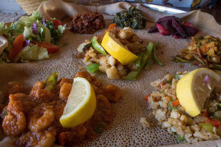 Eritrea Eritrean Ethiopia Ethiopian Food Salad Seafood Shrimps Djibouti Djiboutian Fish Flour Food Healthy High Angle View Injera Meal National Dish Prawns Serving Size Somalia Somalian Spongy  Teff Traditional Vegetables
