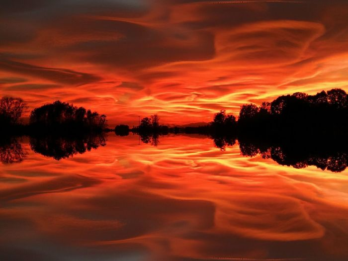 Reflection Sunset Dramatic Sky Cloud - Sky Tree Sky Nature Scenics Outdoors Landscape No People Beauty In Nature Tranquility Water Tranquil Scene Forest Lake Horizon Over Water Day