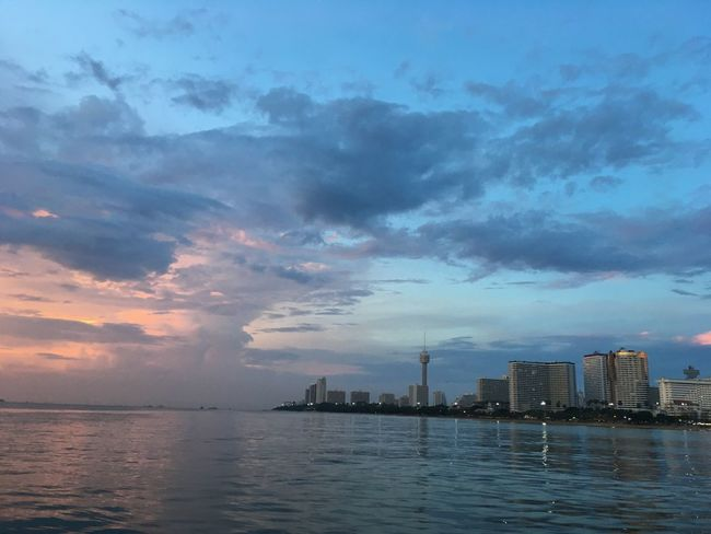 Architecture Building Exterior Built Structure Cloud - Sky Skyscraper City Sea Cityscape No People Water Urban Skyline Sunset City Life EyeEmNewHere