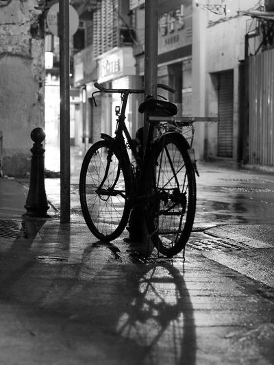 Bike alone at night Transportation Built Structure Mode Of Transport Land Vehicle Architecture Building Exterior
