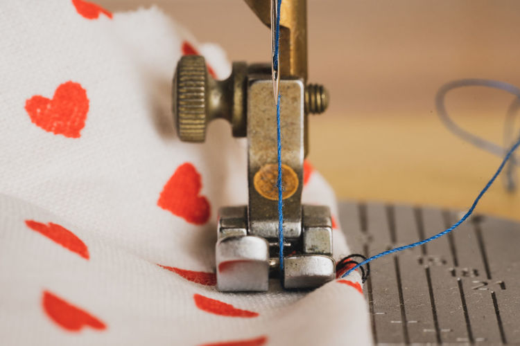 High angle view of sewing machine on table