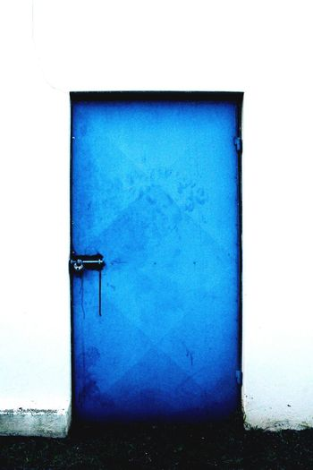 TakeoverContrast Closed Door Architecture Blue Building Exterior No People Outdoors Blue Color Day Vibrant Color