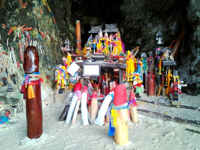 Thailand Tradition Carved Sculptures Good Luck For Fishermen Lingam No People Offerings Religion