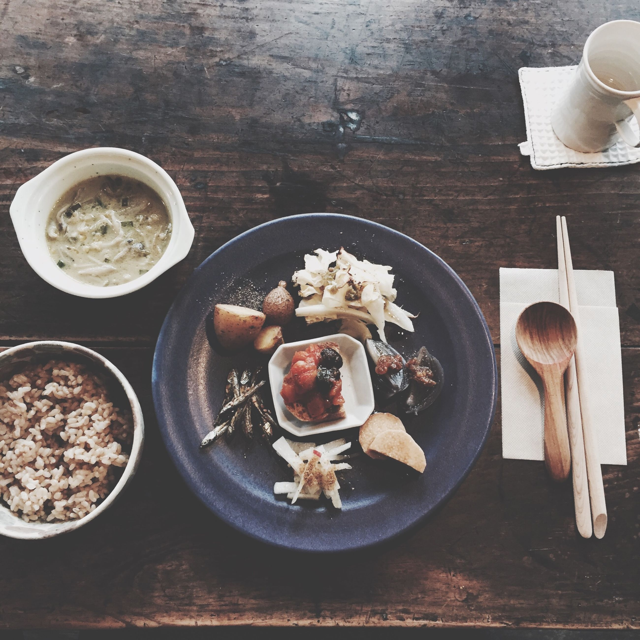 food and drink, indoors, freshness, table, food, still life, plate, ready-to-eat, high angle view, drink, bowl, healthy eating, spoon, serving size, indulgence, refreshment, fork, directly above, breakfast, meal