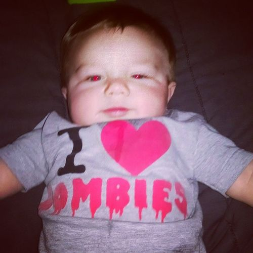 Not a good sign in that shirt. Zombiebaby Zombiesrule Walkingdead Cutestbaby babyproblems