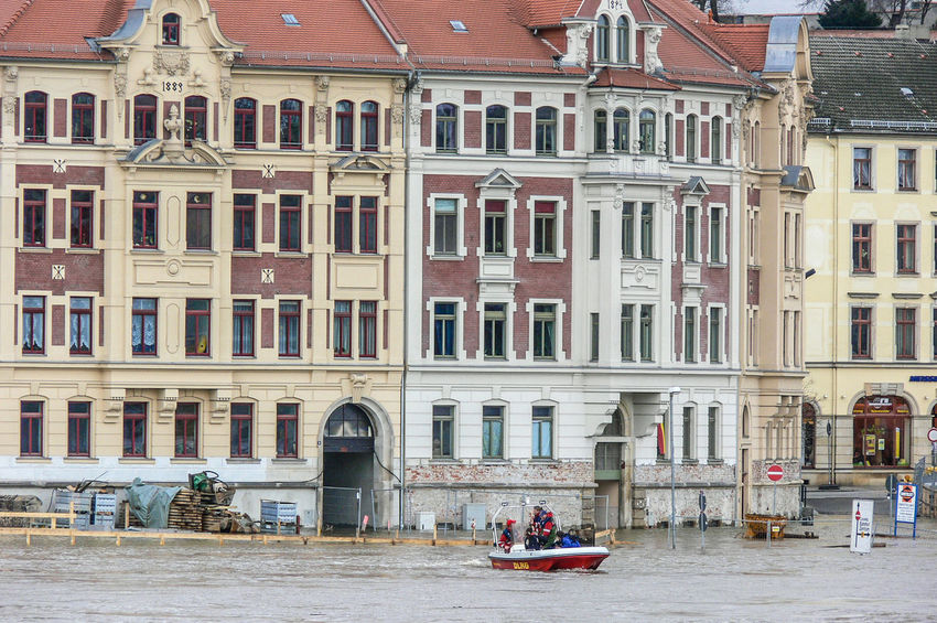 Meissen in Saxony the porcelaine town, Elbe River hig water Desaster Natural, Desaster Struck DLRG Boat Helping Architecture Building Exterior Built Structure City Day High Water Level Nautical Vessel Outdoors People Real People Transportation Waterfront Window Men Adult