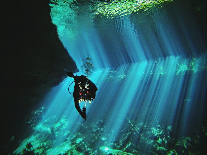 Cenote Diving Scuba Diving SCUBA Light Sunrays Underwater