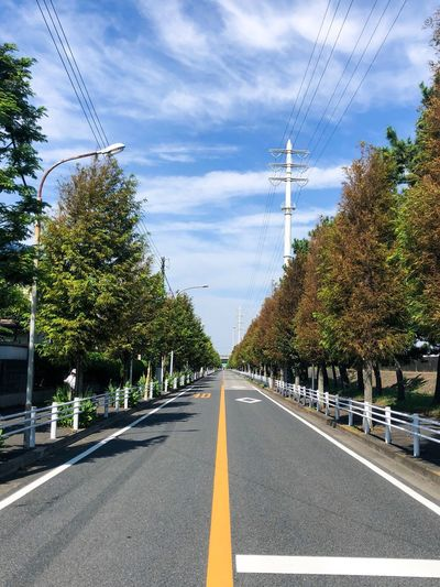 Open road. Tree Transportation Road Plant Direction The Way Forward Sky Nature Electricity  Day Cloud - Sky Diminishing Perspective vanishing point Sign No People Power Line  Road Marking Symbol Marking City