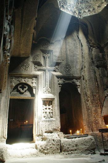 Armenia Church Geghard Geghard Monastery Light Architecture Day Gavel Illuminated Indoors  No People Place Of Worship Religion Spirituality