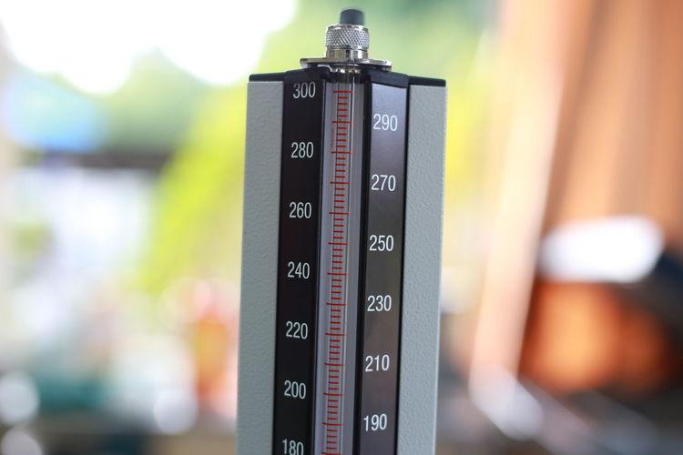 Close-up of blood pressure gauge