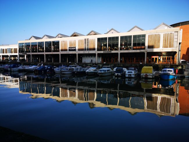 Reflection at Bristol waterfront Seemooore Huawei P20 P20 Pro Leica Lens Mobilephotography Photography Photo Of The Day EyeEm Selects Water Clear Sky Reflection Boat Stilt House Standing Water Residential Structure Waterfront