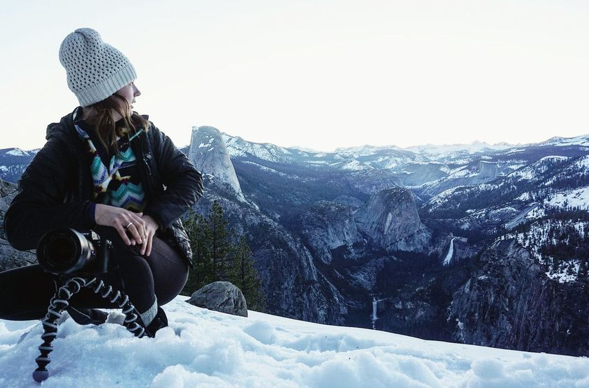 It's a hard view to turn away from Public Land WestCoast Nature_collection Nature Naturelovers One Person Knit Hat Outdoors Yosemite National Park Half Dome Snowy Mountains Snow Backpacking Camping Sonyalpha