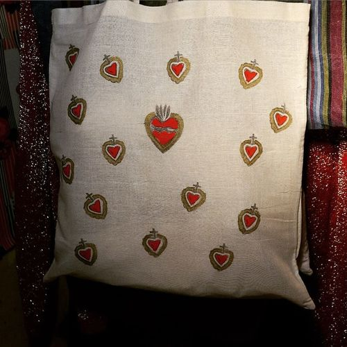Shopping bag *Mi Amor* stampata a mano Cuore Shoppingbag Heart Valentine stamp handpainted