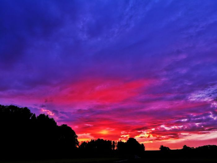 Sunset Silhouette Scenics Tree Multi Colored No People Outdoors Nature Sky Beauty In Nature Red Landscape Tranquil Scene Playing With Colours Dramatic Sky Silhouette Beauty In Nature Rural Landscape Dusk Sunset Photography