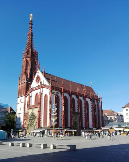 View of cathedral against clear blue sky