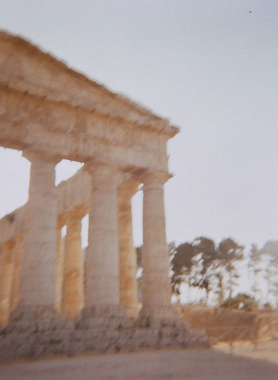 Analogue Photography Ancient Architectural Column Architecture Day History Holga Photography Lomography Old Ruin Outdoors Segesta Italy Sky Travel Destinations