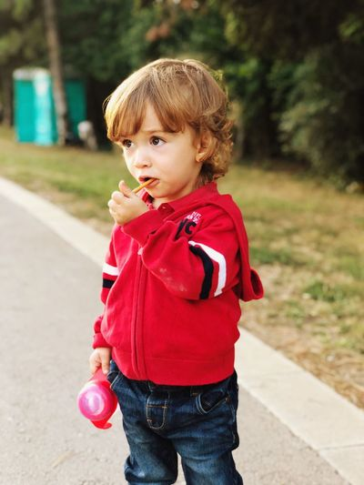 ❤️ Baby Childhood Child One Person Innocence Standing Cute Casual Clothing Day Real People Red Looking Away Outdoors Portrait Babyhood First Eyeem Photo