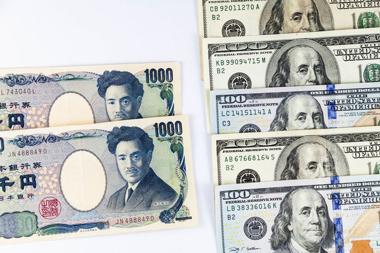 Close up view of US Dollar and Japanese Yen indicating strong currency exchange rate Dollar Bill Dollar Sign Japanese  US Dollar USA America Dollar Dollar Bills Dollar Notes Dollarbills Dollars Dollars💲 Japanese Yen Us Yen