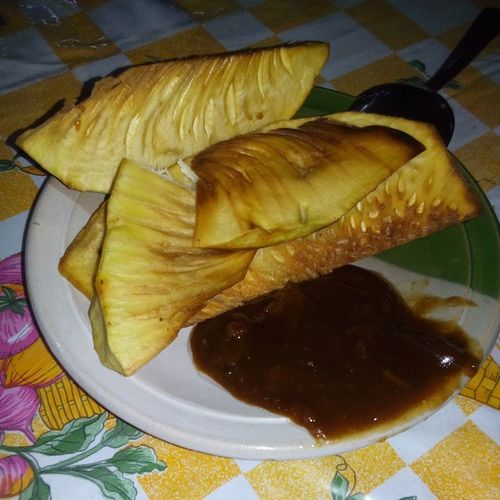Breadfruit, fried with latik - this afternoon's snack. Breadfruit Snacks Food Latik