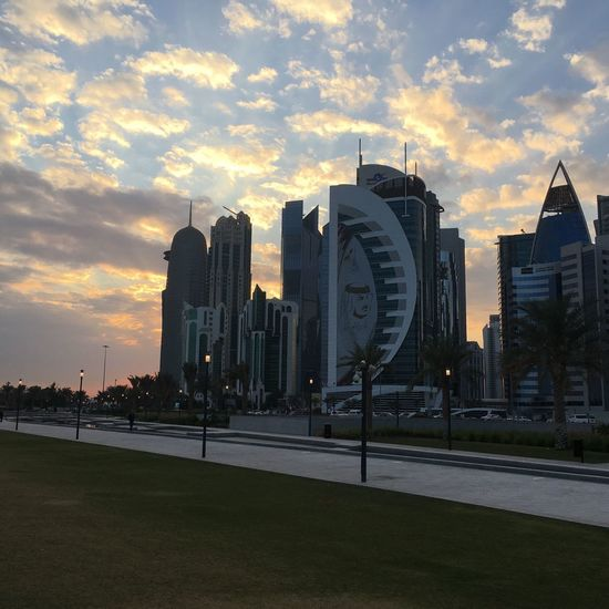 Qatar National Day Sunset Cloud - Sky Sky Skyscraper Architecture Cityscape Business Finance And Industry