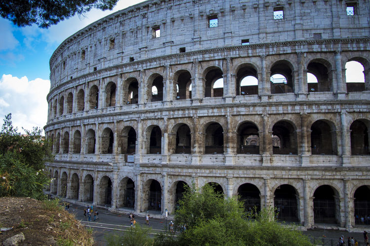 Exterior of colosseum in city