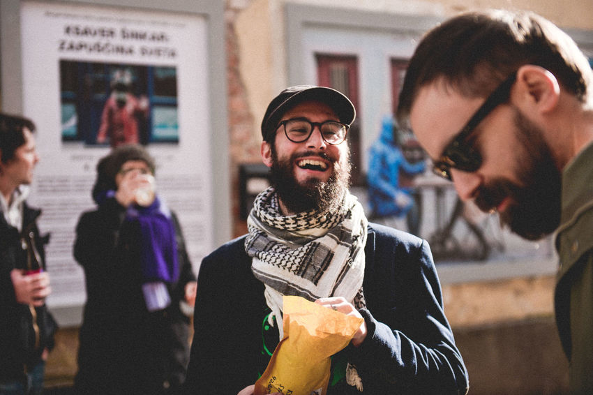 Temporary Exhibition Beard Beer Casual Clothing Day Drinking Drinking Beer Exhibition Exhibition Opening Eyeglasses  Fear The Beard Focus On Foreground Front View Happiness Incidental People Indoors  Lifestyles Real People Smiling Standing Street The Photojournalist - 2017 EyeEm Awards The Street Photographer - 2017 EyeEm Awards Two People Young Adult