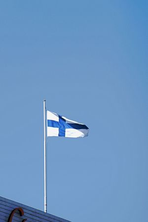 Blue Blue Cross Blue Cross On White Ground Clear Sky Day Finnish Flag Finnland Flag Independence Low Angle View No People Outdoors Patriotism Sky Waving