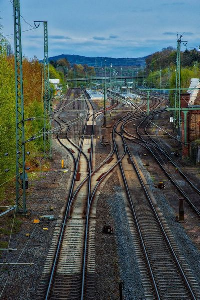 Railroad Railroad Track Rail Transportation Sky Transportation Mode Of Transport Day Cable Outdoors Railway Signal Nature AMP PICTURES