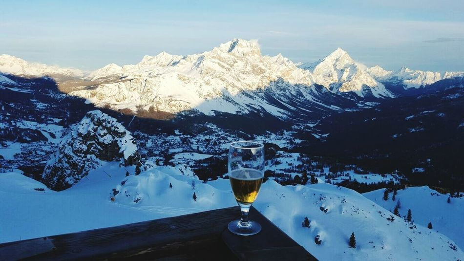 Things I Like beer after skiing Enjoying Life The KIOMI Collection Mountain Viewpoint Skiing In The Dolomites Alps Evening Light Beer O'clock Snow Scene
