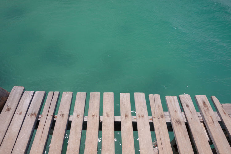 High angle view of pier on lake