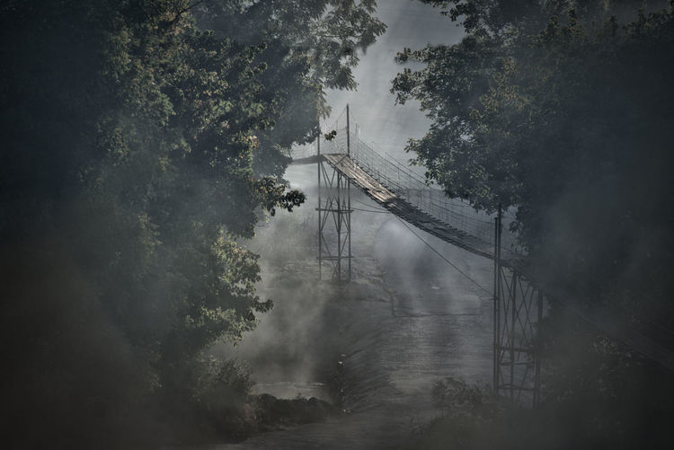 Bridge Bridge - Man Made Structure Canal Day Fog Foggy Foggy Morning Growth Mode Of Transport Nature Nautical Vessel No People Sky Transportation Tree Water Waterfront