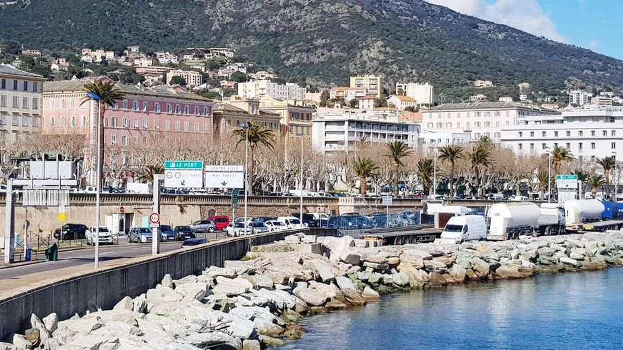 la ville de Bastia en haute corse Ville Paysage Corse Corsica Port Corse France Superbe Vue Beautiful Nature Beautiful Day Water Outdoors Day Sea Beach Building Exterior Architecture No People Mountain Built Structure Tree Sky Nature