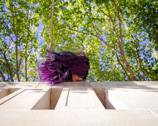 Composition Hair Architecture Blue Color Day Environment Leisure Activity Motion Nature Outdoors Plant Purple Shadow Sky Staircase Sunlight Sunny Travel Travel Destinations Tree This Is Family Visual Creativity Focus On The Story #FREIHEITBERLIN The Portraitist - 2018 EyeEm Awards #urbanana: The Urban Playground Be Brave