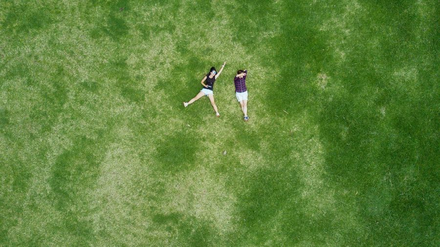 High angle view of young couple on grass