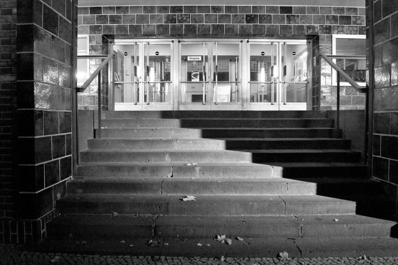 Architecture Berlin Black & White Black And White Blackandwhite Brick Building Built Structure Entrance Haus Des Rundfunks Light And Shadow Monochrome Monochrome Photography Night No People Steps Street Photography Streetphotography The City Light