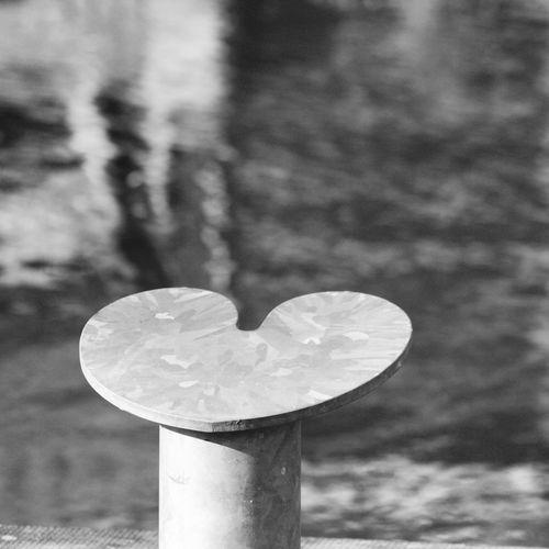 Close-up of heart shape leaf on pole against lake