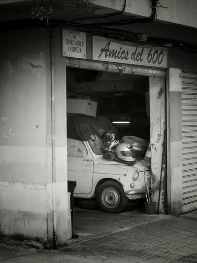 Fiat600 Car Old Car Decay_of_today Garage Auto Outdoor Photography Blackandwhite Photography No People SPAIN
