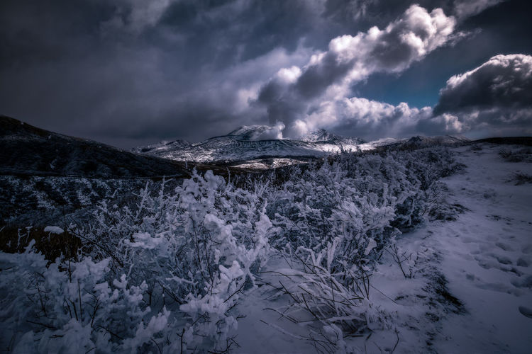 aso japan Beauty In Nature Cloud - Sky Cold Temperature Day Landscape Mountain Nature No People Outdoors Scenics Sky Snow Storm Cloud Tranquil Scene Tranquility Weather Winter